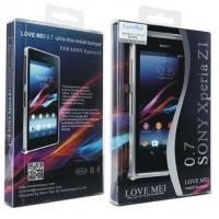 Алюминиевый бампер для Sony Xperia Z1 голубой LOVE MEI