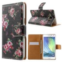 Чехол книжка для Samsung Galaxy A5 Black Flower Pattern