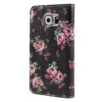 Чехол книжка для Samsung Galaxy S6 Black Flower Pattern