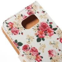 Чехол книжка для Samsung Galaxy S6 edge White Flower Pattern