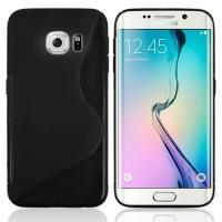 Силиконовый чехол для Samsung Galaxy S6 edge черный S-образный