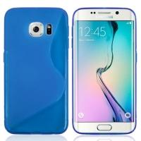 Силиконовый чехол для Samsung Galaxy S6 edge синий S-образный
