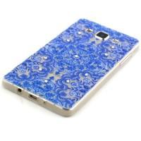 Силиконовый чехол для Samsung Galaxy A5 Голубые узоры со стразами