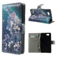 Чехол книжка для Sony Xperia Z1 Compact орнамент Crystal and Purple Dream