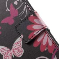 Чехол книжка для Sony Xperia E4, Xperia E4 Dual Flowers and Butterfly