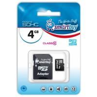 Карта флэш-памяти Micro SDHC SmartBuy 4 GB