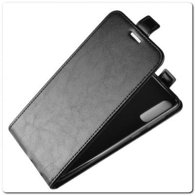 Вертикальный Чехол Книжка Флип Вниз для Samsung Galaxy A70 с карманом для карт Черный