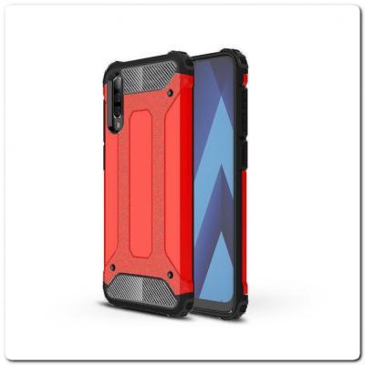 Противоударный Armor Guard Комбо Пластик + TPU Защитный Чехол для Samsung Galaxy A50 Красный