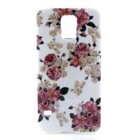 Силиконовый чехол для Samsung Galaxy S5 White&Rose Flowers