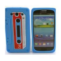 Силиконовый чехол-кассета для Samsung Galaxy 3 голубой