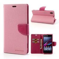 Чехол книжка для Sony Xperia Z1 розовый Mercury