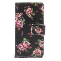 Чехол книжка для Samsung Galaxy S5 mini Black Flower Pattern