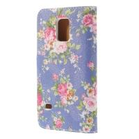 Чехол книжка для Samsung Galaxy S5 mini Purple Flower Pattern