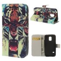 Чехол книжка для Samsung Galaxy S5 mini Tiger