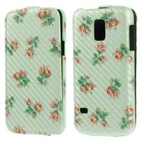 Чехол Down Flip для Samsung Galaxy S5 mini Mint Flower Pattern