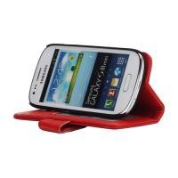 Кожаный чехол книжка для Samsung Galaxy S3 mini красный