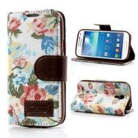 Flip чехол книжка для Samsung Galaxy S4 mini White Flowers
