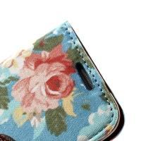 Flip чехол книжка для Samsung Galaxy S4 mini Blue Flowers