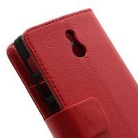 Кожаный чехол книжка для Sony Xperia P красный