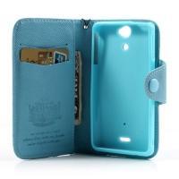 Кожаный чехол книжка для Sony Xperia V голубой