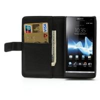 Кожаный чехол книжка для Sony Xperia S черный