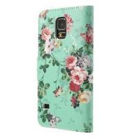 Чехол книжка для Samsung Galaxy S5 Pretty Blossoms Cyan
