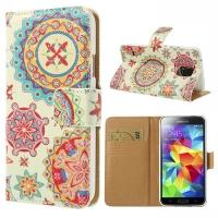 Чехол книжка для Samsung Galaxy S5 Geometric Flower Pattern