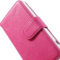 Чехол книжка для Sony Xperia Z1 Compact розовый Lichee