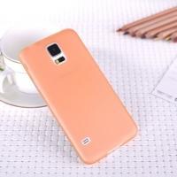 Ультратонкий пластиковый чехол для Samsung Galaxy S5 оранжевый