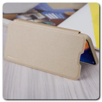 Блестящий Чехол Книжка Nillkin Sparkle из Жесткой Износоустойчивой Экокожи для Samsung Galaxy A10 Золотой