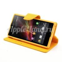 Flip чехол книжка для Sony Xperia Z желтый