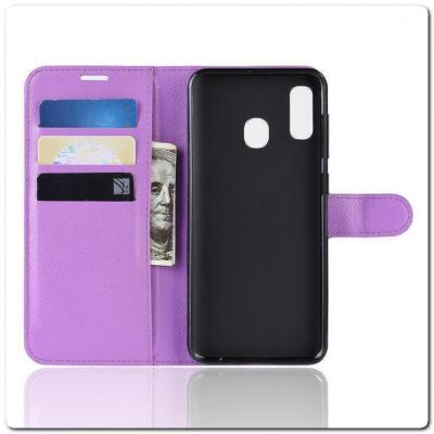 Чехол Книжка Book Wallet с Визитницей и Кошельком для Samsung Galaxy A40 Фиолетовый