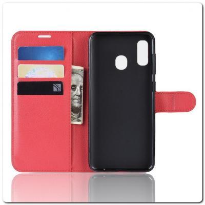 Чехол Книжка Book Wallet с Визитницей и Кошельком для Samsung Galaxy A40 Красный