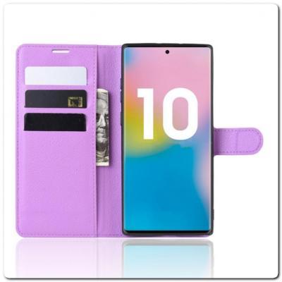 Чехол Книжка Book Wallet с Визитницей и Кошельком для Samsung Galaxy Note 10+ / Note 10 Plus Фиолетовый