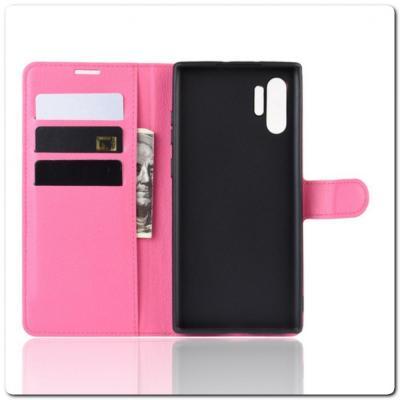 Чехол Книжка Book Wallet с Визитницей и Кошельком для Samsung Galaxy Note 10+ / Note 10 Plus Ярко-Розовый