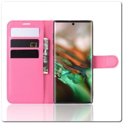 Чехол Книжка Book Wallet с Визитницей и Кошельком для Samsung Galaxy Note 10 Ярко-Розовый