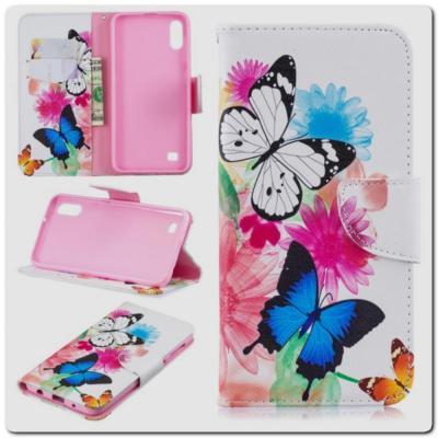 Чехол Книжка Color Wallet с Магнитным Язычком для Samsung Galaxy A10 с Рисунком Яркие Бабочки
