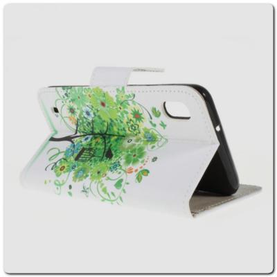 Чехол Книжка Color Wallet с Магнитным Язычком для Samsung Galaxy A10 с Рисунком Зеленый