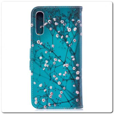 Чехол Книжка Color Wallet с Магнитным Язычком для Samsung Galaxy A70 с Рисунком Дерево С Цветами