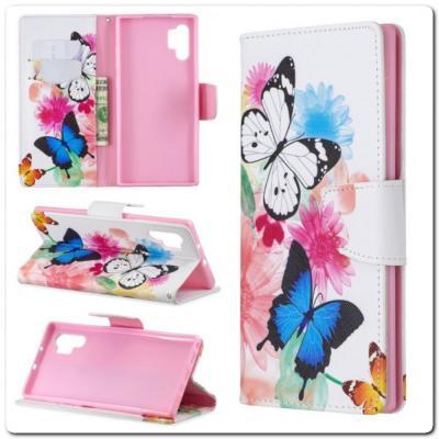 Чехол Книжка Color Wallet с Магнитным Язычком для Samsung Galaxy Note 10+ / Note 10 Plus с Рисунком Бабочки