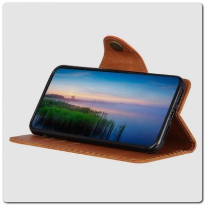 Чехол Книжка Flip Wallet с Отделениями для Карт на Samsung Galaxy A10 Коричневый
