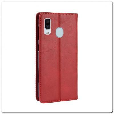 Чехол Книжка с Скрытыми Магнитами Авто Закрытие для Samsung Galaxy A30 / Galaxy A20 Красный