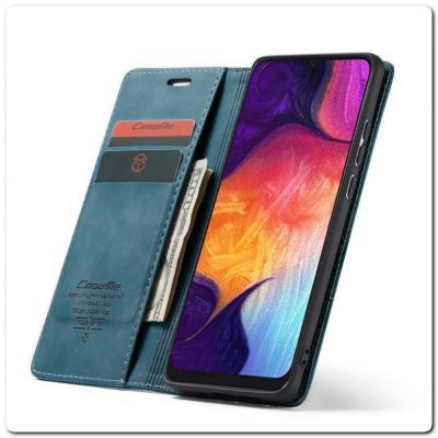 Чехол Книжка с Скрытыми Магнитами Авто Закрытие для Samsung Galaxy A50 Синий