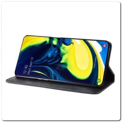 Чехол Книжка с Скрытыми Магнитами Авто Закрытие для Samsung Galaxy A80 Черный