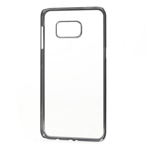 Пластиковый прозрачный чехол для Samsung Galaxy S6 edge+ чёрный