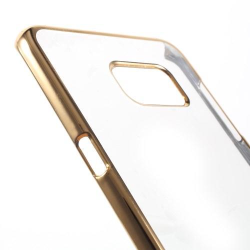Пластиковый прозрачный чехол для Samsung Galaxy S6 edge+ золотой