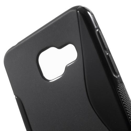 Силиконовый чехол для Samsung Galaxy A3 2016 черный S-образный