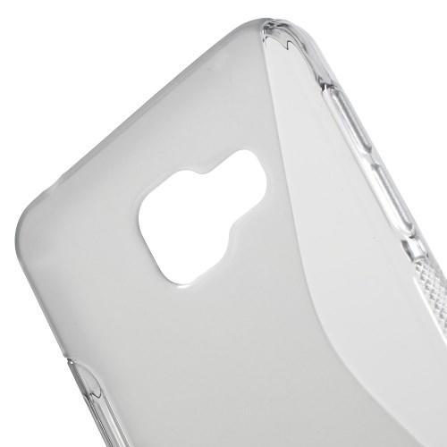 Силиконовый чехол для Samsung Galaxy A3 2016 серый S-образный