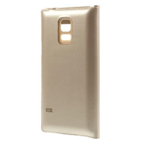 Чехол книжка золотой для Samsung Galaxy S5 mini с функцией активное окно