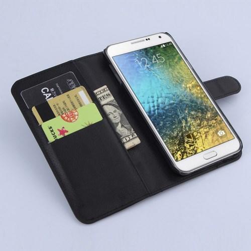 Чехол книжка для Samsung Galaxy E7, Galaxy E7 Duos черный LichiCase